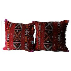 Pair of Vintage Moroccan Pillows, Authentic Wool Pillows, Pillow Cover-Handwoven