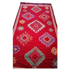 Colorful Vintage Moroccan Rug / Berber Moroccan Rug with Traditional Tribal Style