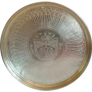 Monumental Moroccan Metal Brass Tray Platter