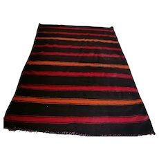 Vintage Moroccan Berber Blanket, Striped Design, Colorful Blanket Flat-Weave