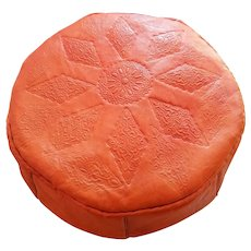 Moroccan Artisan, Genuine Handmade Moroccan Leather Pouf, Pouf Ottoman, Home Decor Accessory