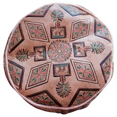 Moroccan Artisan, Genuine Handmade Moroccan Leather Pouf, Brown Pouf Ottoman, Home Decor Accessory