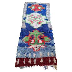 Vintage Bohemian Moroccan Boucherouite Rug