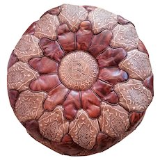 Moroccan Artisan, Genuine Handmade Moroccan Leather Pouf, Luxury Brown Pouf Ottoman,Home Decor Accessory