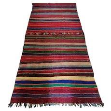 Vintage Moroccan Bohemian Rug, Striped Design, Colorful Berber Rug Flat-Weave