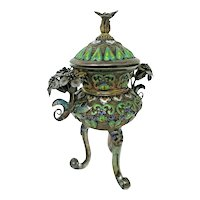 Sterling Silver Chinese Tripod Censer - Export Enamel Silver with Gold Filigree