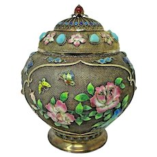 Chinese Gold Gilt Sterling Silver Ginger Jar Enameled w Inlaid Cabochons