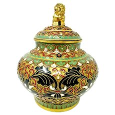 Chinese Cloisonne Enameled Ginger Jar Floral Design with Foo Dog Finial 1950's