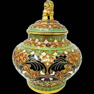 Chinese Cloisonne Enameled Ginger Jar Floral Design with Foo Dog Finial 1950's