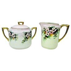 C. T. Altwasser, Silesi Porcelain Sugar Bowl & Creamer Germany