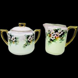 Antique Porcelain Sugar Bowl & Creamer Germany