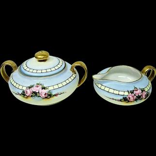 Antique Z.S. & Co Bavaria Hand Painted Creamer & Sugar Bowl