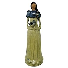 Artesania Lime Clay Faceless Lady Dominican Republic Large 15""