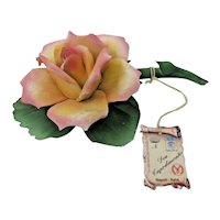 Capodimonte Pink Rose - Hand Painted Porcelain - Naples, Italy