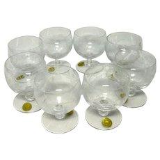 Theresienthal Connoisseur Liqueur Glasses SET of 8 - Handgravour Crystal Bavaria