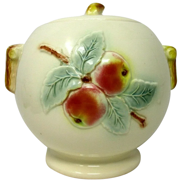 R R P Co Cookie Jar Peaches Roseville Ohio Pottery Grammazon Gallery Ruby Lane