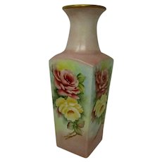 Westmoreland Milk Glass Vase 1900's with Hand Painted Farm Roses