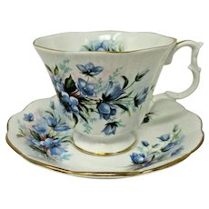 Royal Albert Bluebells Mint Bone China Teacup & Saucer England