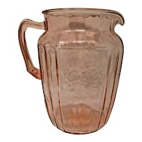 Anchor Hocking Pink Glass Water Pitcher - Mayfair Pattern