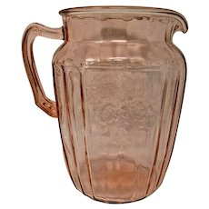 Anchor Hocking Pink Depression Glass Water Pitcher - Mayfair Pattern