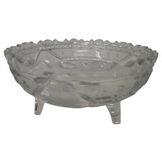 McKee Innovation Cut & Pressed Glass Footed Fruit Bowl