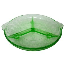 Indiana Glass Horseshoe Pattern Green Divided Serving Dish