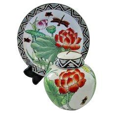 Toyo China Hand Painted Lotus & Dragonfly Ginger Jar & Matching Plate