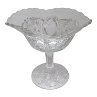 EAPG John B Higbee Glass Compote BANNER Pattern Floral Oval