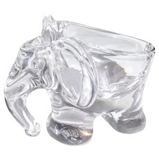 Art Vannes Le Chatel Modernist Crystal Elephant Dish—MINT -Signed  France