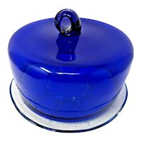 Cake Stand with a Cobalt Blue Dome Hand Blown Crystal