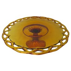 Colony Open Lace Amber Pedestal Cake Stand
