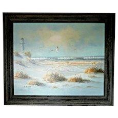 "Taylon Original Oil on Canvas - Lighthouse on Windy Beach (24"" x 20"")"