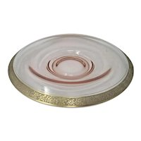 Tiffin Franciscan Pink Rambler Rose Gold Encrusted Console Bowl
