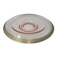 Tiffin Franciscan Pink Rambler Rose Gold Encrusted Console Bowl