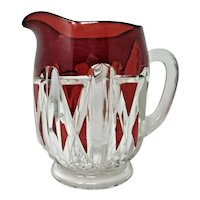 EAPG - Doyle & Co - Ruby Stained Triple Triangle - Water/Milk Pitcher