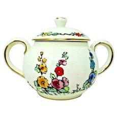 Crown Staffordshire Hollyhock China Rare Tall Sugar Bowl with Lid England