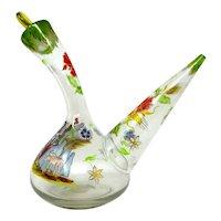 Art Glass PORRON Wine Decanter Hand-blown & Hand-Decorated Spain