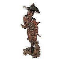 Asian Decor - Wood Carving - Old Chinese Man - Fuzhou Longan, Fujian Province
