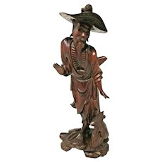 Asian Decor - Wood Carving - Old Chinese Man - Fuzhou Longan, Fujian Province