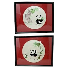 Wall Art - Chinese Embroidered Silk - Baby Pandas in the Bamboo