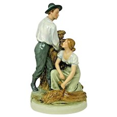 Early ROYAL DUX Czech Bohemian PORCELAIN 'The Harvest' Figurine - Love at Work
