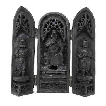 Chinese Triptych of Longevity Gods Fu Lu Shou - Traveling Altar Shrine
