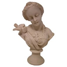 Parian Bisque Bust Of Young Woman With A Dove - 19th Century