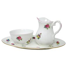 CROWN STAFFORDSHIRE - Floral Bouquet - Sugar Bowl & Creamer Set