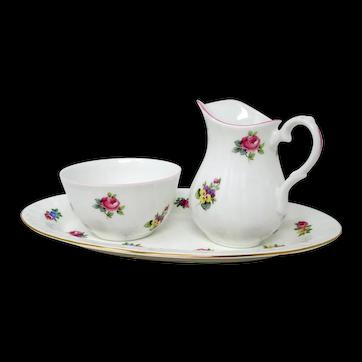 CROWN STAFFORDSHIRE - Floral Bouquet - Sugar Bowl & Creamer Set