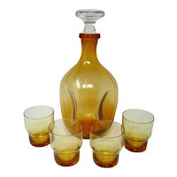 Cambridge Glass AMBER 36-Oz - Pinched Decanter & 4 Whiskey Glasses