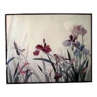 "Framed Watercolor Art Print ""Wrens Among the Iris"" by Gloria Eriksen"
