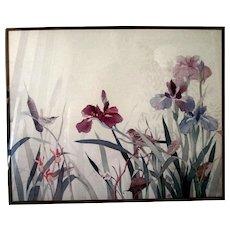 "Framed Watercolor Art Print ""Wrens Among the Iris"" by Gloria Eriksen"