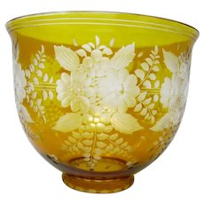 Czech Bohemian Art Glass - Amber Flashed Bowl