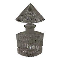 "Art Deco Style Crystal Perfume Bottle ""Infinity"" Czech Bohemian"